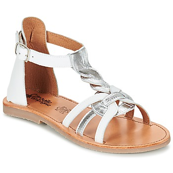 Shoes Girl Sandals Citrouille et Compagnie GITANOLO White / Silver