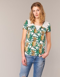 Clothing Women Tops / Blouses Naf Naf E-ANANAS White / Green / Yellow
