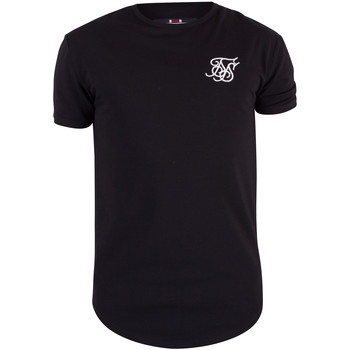 Clothing Men short-sleeved t-shirts Sik Silk Men's Curved Hem Logo Gym T-Shirt, Black black