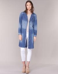 Clothing Women Trench coats Cream DENIM TRENCHCOAT Denim