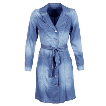 Clothing Women Trench coats Cream DENIM TRENCHCOAT Denim