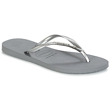 Shoes Women Flip flops Havaianas SLIM METAL LOGO AND CRYSTAL GREY