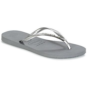 Shoes Women Flip flops Havaianas SLIM METAL LOGO AND CRYSTAL GREY