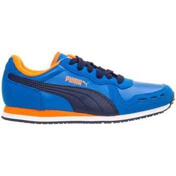 Shoes Children Low top trainers Puma Cabana Racer SL JR Navy blue-Blue-Orange