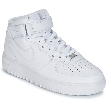 Shoes Men Hi top trainers Nike AIR FORCE 1 MID 07 LEATHER White