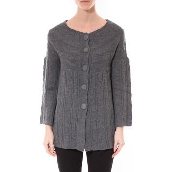 Clothing Women Jumpers De Fil En Aiguille Gilet MaElla Anthracite AN 141 Grey