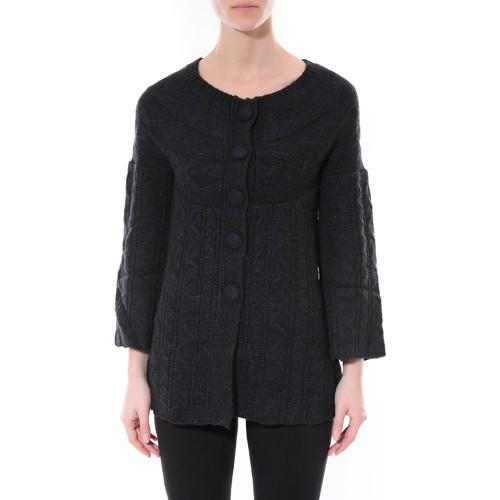 Clothing Women Jumpers De Fil En Aiguille Gilet MaElla Noir AN 141 Black