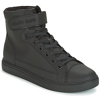 Shoes Men Hi top trainers Armani jeans JEFEM Black
