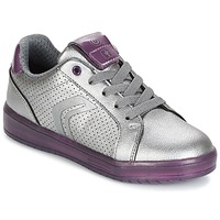 Shoes Girl Low top trainers Geox J KOMMODOR G.A Silver / Prune