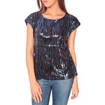 Clothing Women short-sleeved t-shirts Tcqb Top 23171 paillettes Julie GG Noir/Bleu Black