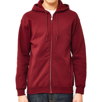 Clothing Men jumpers The Idle Man Classic Zip Through Hoodie Burgundy