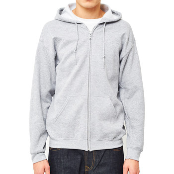 Clothing Men jumpers The Idle Man Classic Zip Through Hoodie Grey