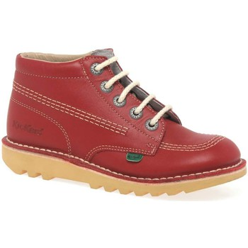 Image of Kickers Chi Leather Childs Ankle Boot boys's Children's Mid Boots in Red