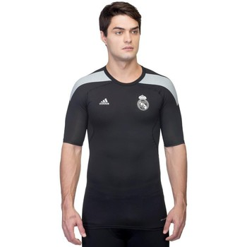 Clothing Men short-sleeved t-shirts adidas Originals Techfit Real Madryt Kompresyjna Termoaktywna Black