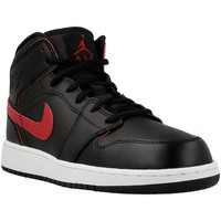 Shoes Men Hi top trainers Nike Air Jordan 1 Mid BG Red-Black