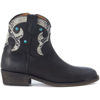 Shoes Women Shoe boots Via Roma 15 black and python leather Texan Black