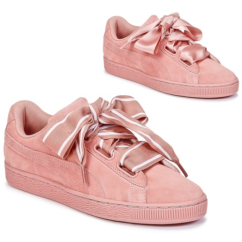 575051c06ee Puma Basket Heart Satin Pink - Free delivery with Spartoo UK ...