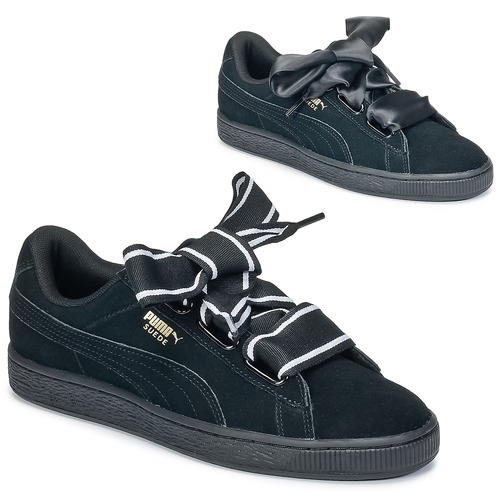5ed742c6f6c5 Puma Basket Heart Satin Black - Free delivery | Spartoo UK ! - Shoes ...