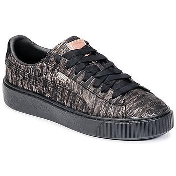 Shoes Women Low top trainers Puma Basket Platform Bi Color Black / Pink