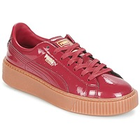 Shoes Women Low top trainers Puma Basket Platform Patent Bordeaux