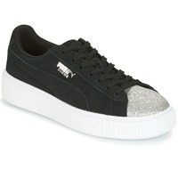 Shoes Women Low top trainers Puma SUEDE PLATFORM GLAM JR Black / Silver