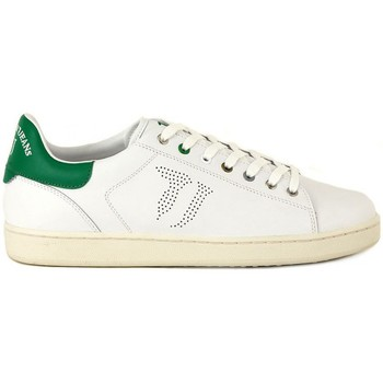 Shoes Men Low top trainers Trussardi Leather Green-White