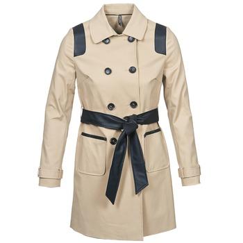 Clothing Women Trench coats Naf Naf BARTABA BEIGE / Black
