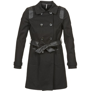 Clothing Women Trench coats Naf Naf BARTABA Black