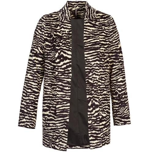 Clothing Women Coats Naf Naf DEBOA Black / Ecru
