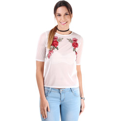 Clothing Women Tops / Blouses Krisp Embroidered Crop Mesh Top {Cream} White