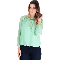 Clothing Women Tops / Blouses Krisp Off-Shoulder Neck Gypsy Blouse {Aqua} Blue