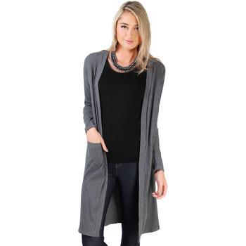 Clothing Women Jackets / Cardigans Krisp Ribbed Jersey Longline Cardigan {Grey} Grey