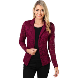 Clothing Women Jackets / Blazers Krisp Contrast Lapel Lace Blazer Red