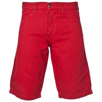 Clothing Men Shorts / Bermudas Armani Jeans Designer Linen Shorts in Red, Black and Khaki Green A6S53 red