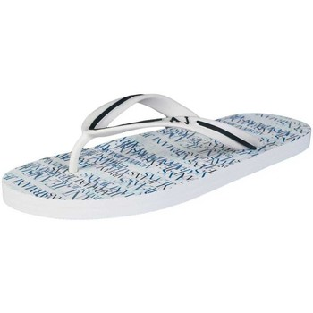 Shoes Men Flip flops Armani Armani Jeans Summer Flip-Flops in White and Navy Blue A656138 white