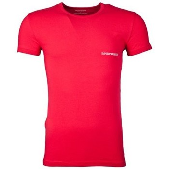 Clothing Men short-sleeved t-shirts Armani Fitted Underwear T-shirt in Red and Charcoal Grey 1110355P725 red