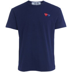 Clothing Men short-sleeved t-shirts Comme Des Garcons blue T-shirt with double heart Blue