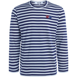 Clothing Men Long sleeved tee-shirts Comme Des Garcons double heart striped sweater Blue