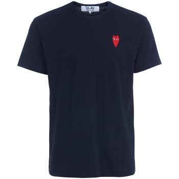 Clothing Men short-sleeved t-shirts Comme Des Garcons black t-shirt with red heart Black