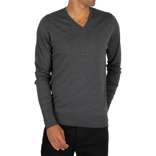 Clothing Men jumpers John Smedley Bobby V-Neck Knit grey