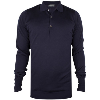 Clothing Men long-sleeved polo shirts John Smedley Men's Longsleeved Knitted Polo Shirt, Blue blue