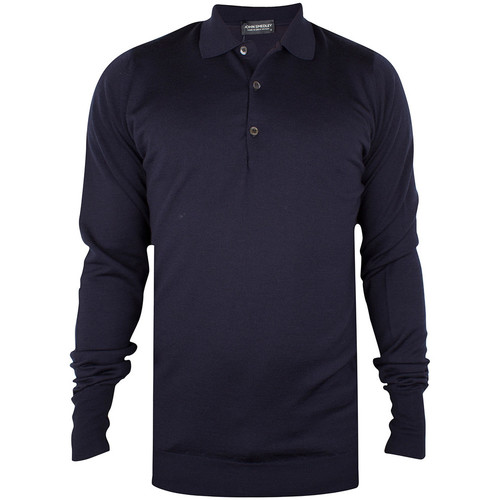 Clothing Men Long-sleeved polo shirts John Smedley Longsleeved Knitted Polo Shirt blue