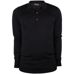 Clothing Men Long-sleeved polo shirts John Smedley Cotswold Longsleeved Polo Shirt black