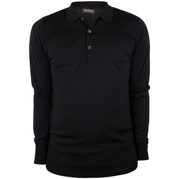 Clothing Men long-sleeved polo shirts John Smedley Men's Cotswold Longsleeved Polo Shirt, Black black
