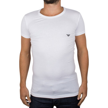 Clothing Men short-sleeved t-shirts Armani Men's Eagle Stretch Crew Neck T-Shirt, White white