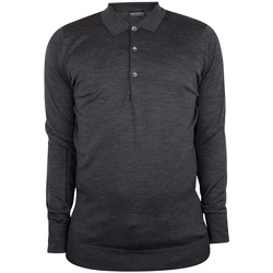 Clothing Men long-sleeved polo shirts John Smedley Men's Cotswold Longsleeved Polo Shirt, Grey grey