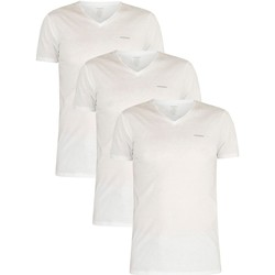 Clothing Men T-shirts & Polo shirts Diesel Men's 3 Pack Jake Plain Logo V-Neck T-Shirts, White white