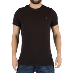 Clothing Men short-sleeved t-shirts Farah Vintage Men's Denny Slim Solid Logo T-Shirt, Black black