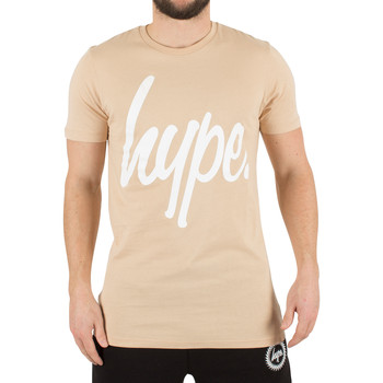Clothing Men short-sleeved t-shirts Hype Men's Script Logo T-Shirt, Brown brown
