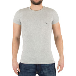 Clothing Men short-sleeved t-shirts Armani Men's Slim Fit Marled Logo T-Shirt, Grey grey